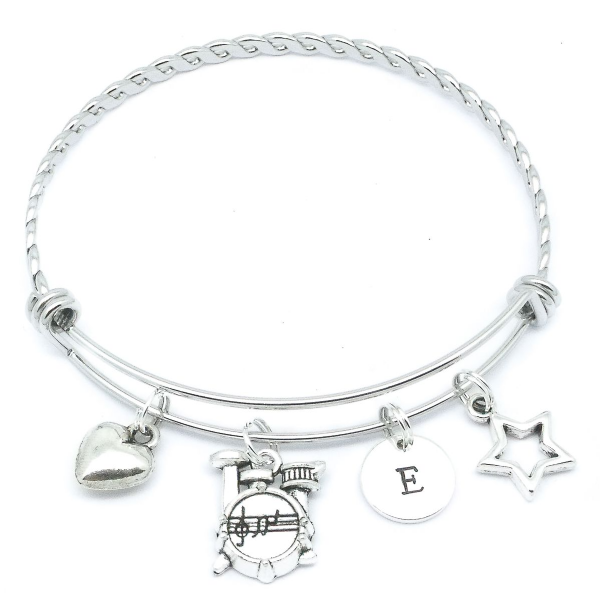Drums / Drum Kit Charm Initial Bracelet Jewellery Gift